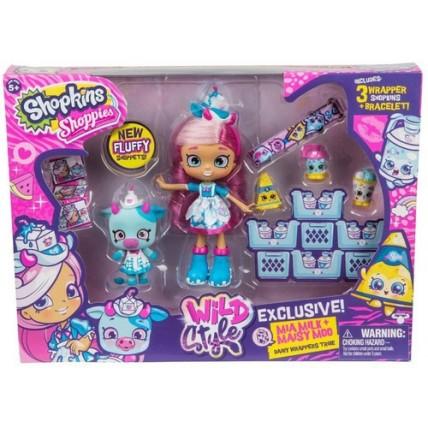 Shopkins Mia Milk - Muñeca Shoppies + Figura Maisy Moo