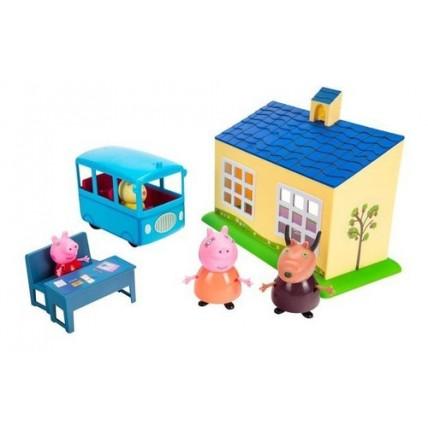 Muñecos Peppa Pig Playset De Escuela + Autobus Escolar C/fig