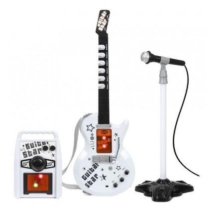 Set Guitarra Electrica Con Visor Y Microfono De Pie