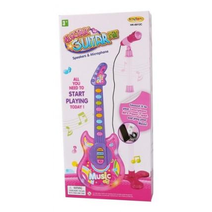 Set Guitarra Y Microfono De Pie A Pila Con Luces Y Sonidos.