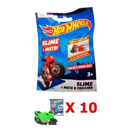 Moto Hot Wheels + Slime X 10 Unidades - Combo