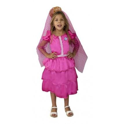 Disfraz Infantil - Patrio Dama Antigua Fucsia T1