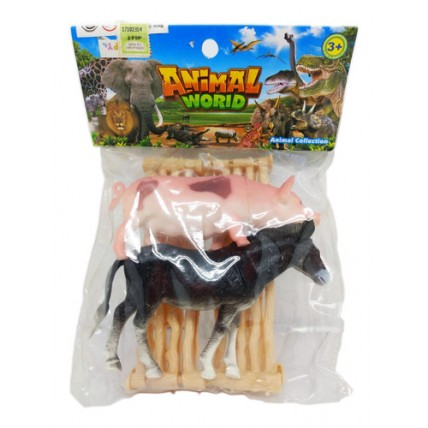 2 Animales De La Selva Con Corral En Bolsa