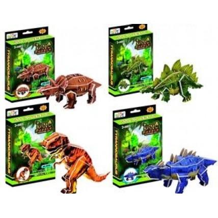 3d Puzzle 4 Modelos Dinosaurios En Caja