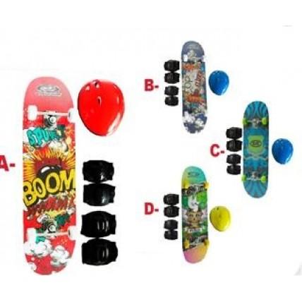 Skate Infantil De 78 Cm Con Set De Proteccion