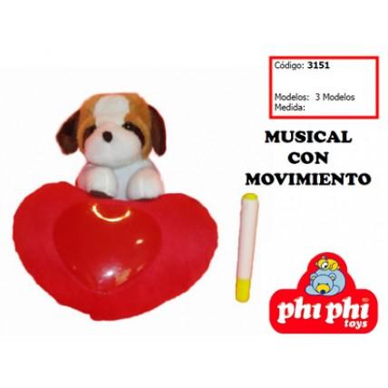 Peluche Perro Con Corazon Cantante