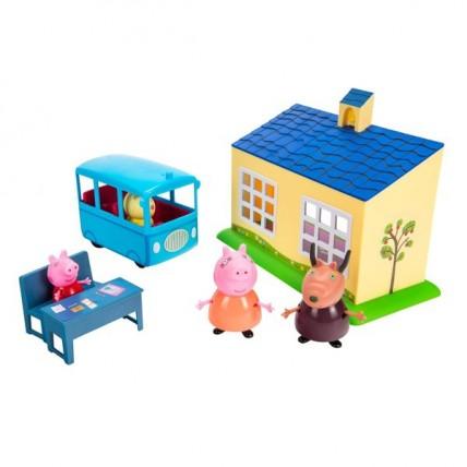 Peppa Pig Playset De Escuela + Autobus Escolar Con Figuras