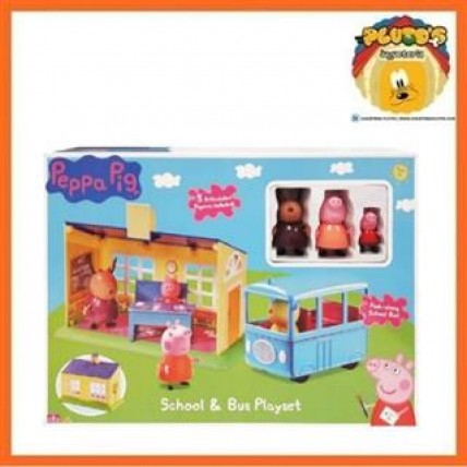 Peppa Pig Playset Escuela Con Autobus Escolar