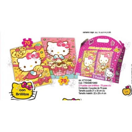2 Rompecabezas Hello Kitty De 70 Piezas